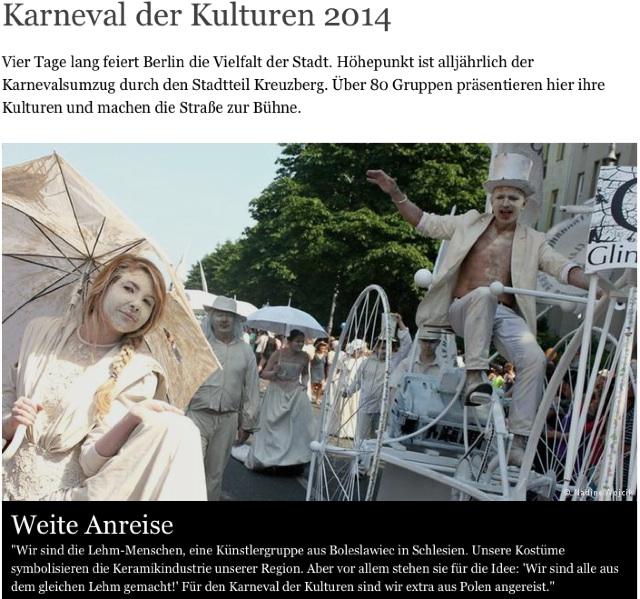 Gliniada na stronie WWW Karnawału Kultur w Berlinie